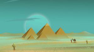 Preview wallpaper pyramids, desert, traveler, art