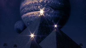 Preview wallpaper pyramids, planets, shine, flashes, dark