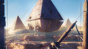 Preview wallpaper pyramids, ruins, buildings, desert