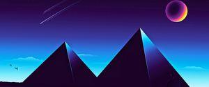 Preview wallpaper pyramids, starry sky, night, dark