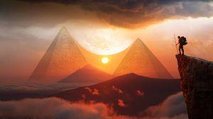 Preview wallpaper pyramids, sunset, landscape, hills, clouds, travel