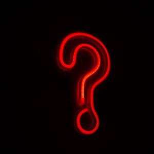 Preview wallpaper question mark, symbol, neon, red, dark