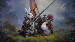 Preview wallpaper rabbit, guinea pig, knights, art