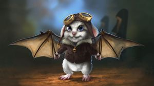 Preview wallpaper rabbit, wings, bat, pilot
