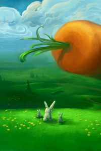 Preview wallpaper rabbits, carrots, huge, surprise, expectation