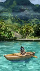 Preview wallpaper raccoon, boat, water, funny, art