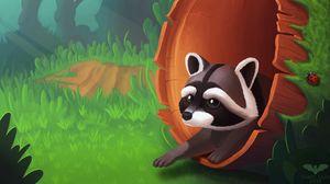 Preview wallpaper raccoon, art, tree, grass