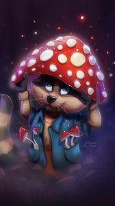 Preview wallpaper raccoon, mushroom, fly agaric, cute, art