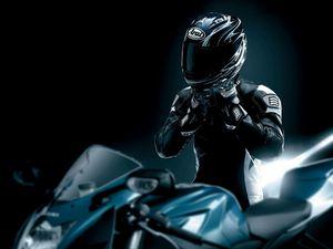 Preview wallpaper racer, black, motorcycle, helmet