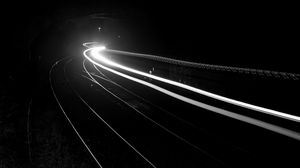 Preview wallpaper railroad, light, long exposure, black and white, black