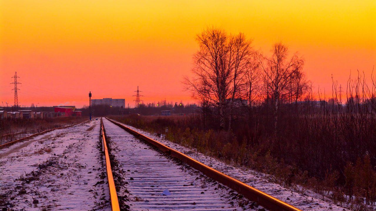 Wallpaperrailroad,rails,snow,sunset高清壁纸免费下载
