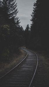 Preview wallpaper rails, railroad, dark, trees, dusk