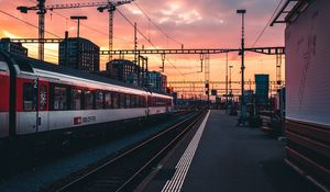 Preview wallpaper railway, train, station, sunset, waiting