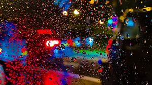 Preview wallpaper rain, drops, glass, blur, lights