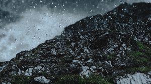 Preview wallpaper rain, drops, ground, grass, moss