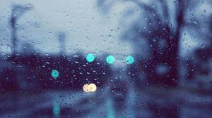 Preview wallpaper rain, glare, glass, drops