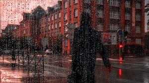 Preview wallpaper rain, silhouette, city, drops, wet