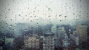Preview wallpaper rain, window, glass, buildings, drops