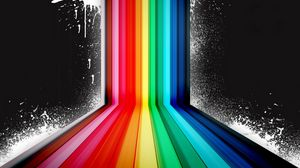 Preview wallpaper rainbow, black background, vector