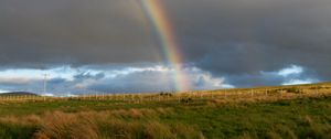 Preview wallpaper rainbow, clouds, field, nature, landscape