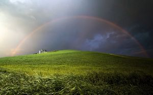 Preview wallpaper rainbow, clouds, hill, cloudy, meadow
