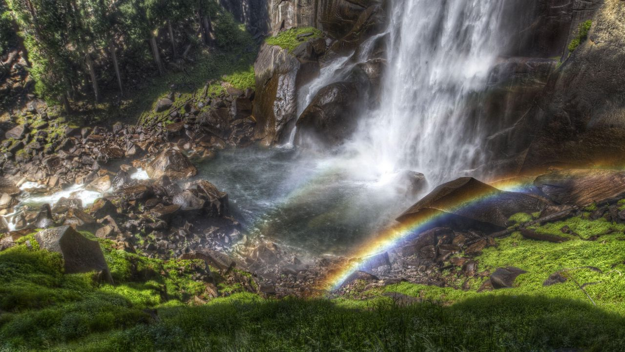 Wallpaper rainbow, falls, streams, stream, from above, stones, shadow, humidity, colors