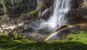 Preview wallpaper rainbow, falls, streams, stream, from above, stones, shadow, humidity, colors