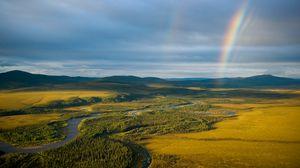 Preview wallpaper rainbow, field, river, grass, nature
