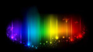 Preview wallpaper rainbow, lines, light, shade, butterflies, mood