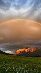 Preview wallpaper rainbow, meadow, mountains, nature, landscape