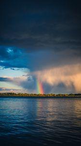 Preview wallpaper rainbow, river, trees, horizon, sky