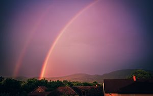 Preview wallpaper rainbow, sky, buildings, dusk