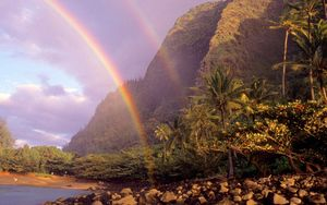 Preview wallpaper rainbow, sky, stones, clouds, palm trees, coast, hawaii