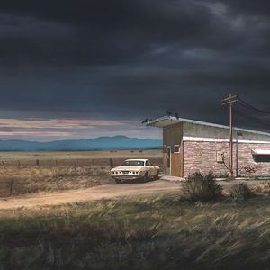Preview wallpaper ranch, car, building, country, landscape, rain clouds