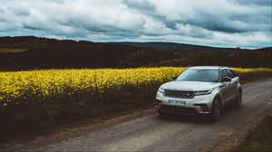 Preview wallpaper range rover, car, suv, front view, road, hills
