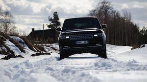 Preview wallpaper range rover, car, suv, black, snow, winter