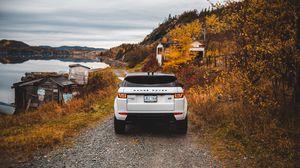 Preview wallpaper range rover, land rover, suv, autumn, rear view