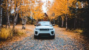 Preview wallpaper range rover, land rover, suv, autumn, front view