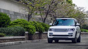 Preview wallpaper range rover, white, suv, car