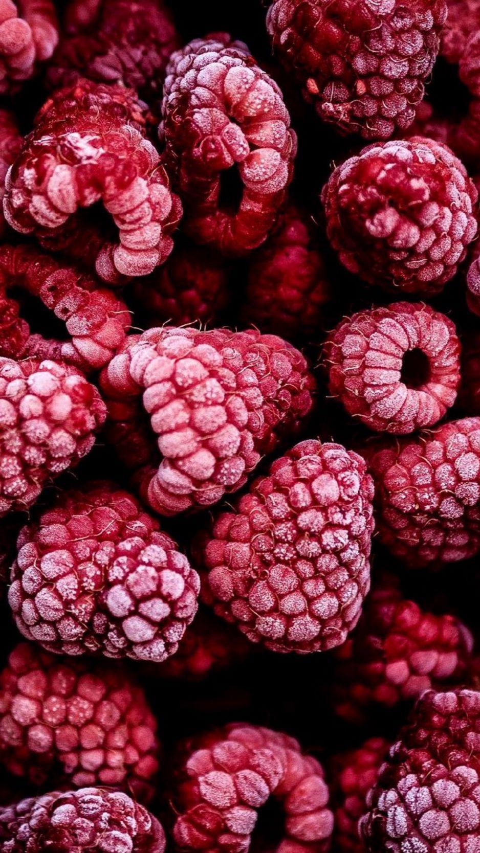 938x1668 Wallpaper raspberry, berry, fruit, frozen