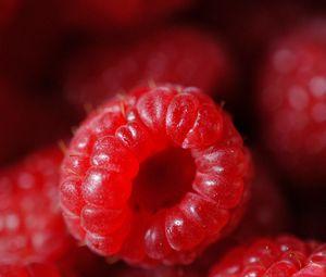 Preview wallpaper raspberry, berry, ripe, red, macro