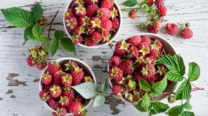 Preview wallpaper raspberry, bowl, fruit, table