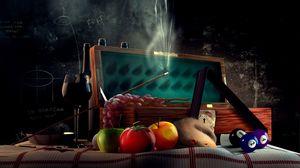 Preview wallpaper rat, tomato, shot, cue, billiards, board, balls, wreath