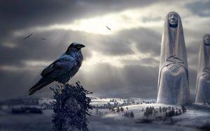 Preview wallpaper raven, bird, photoshop, mystical, sculptures