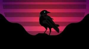 Preview wallpaper raven, bird, sun, vector, art
