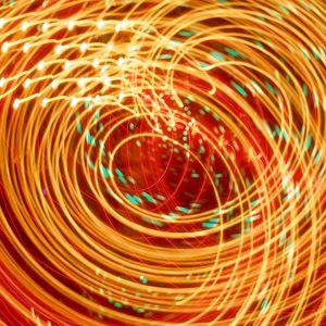 Preview wallpaper rays, neon, glow, swirling, bright, orange