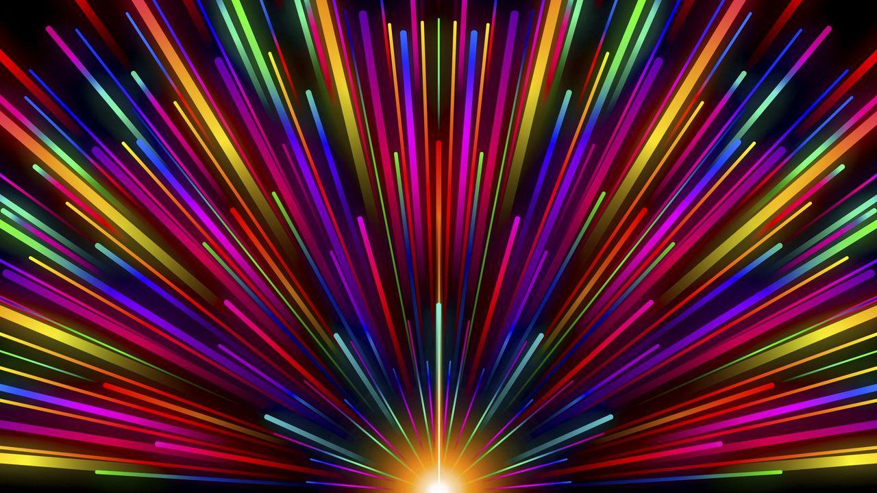 1280x720 Wallpaper rays, stripes, multicolored, glow, rainbow