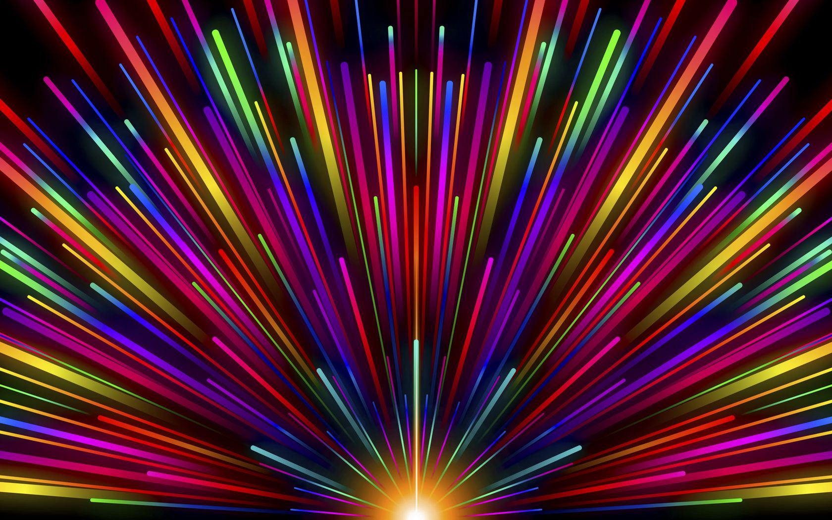 1680x1050 Wallpaper rays, stripes, multicolored, glow, rainbow