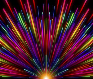 Preview wallpaper rays, stripes, multicolored, glow, rainbow