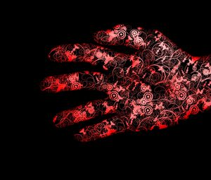 Preview wallpaper red, black, hand, flowers